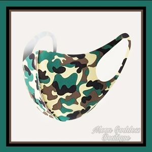 Face Mask Camo Print Green Yellow Stretchy Straps